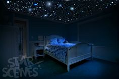SLEEP UNDER THE STARS FROM THE COMFORT OF YOUR OWN BED!d  Create an authentic-looking night sky with these handmade glow in the dark star stickers.