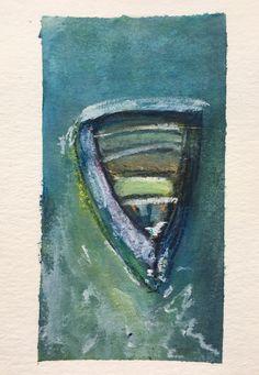 Tara Leaver inspired boat sketch mixed media 4x6