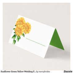 Shop Sunflower Green Yellow Wedding Flowers Party Place Card created by merrybrides. Party Places, Wedding Places, Wedding Place Cards, Wedding Reception Decorations, Wedding Table, Yellow Wedding Flowers, Sunflower Flower, Bridal Shower, Card Making