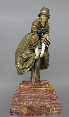 D. H. Chiparus Art Deco Bronze Woman Adjusting Her Stocking.