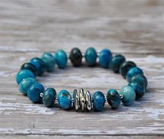 NEW Dramatic Blue Agate Beaded Bracelet / Handmade by BeadRustic, $45.00