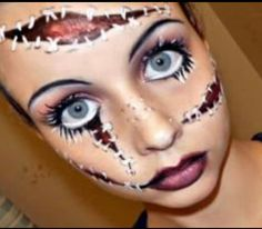 Halloween Make-Up DIY Ideas Going as a zombie this Halloween? Check out this easy fake wounds DIY and other Halloween make-up ideas Diy Halloween Face Paint, Amazing Halloween Makeup, Looks Halloween, Halloween Face Makeup, Halloween Doll, Scary Halloween, Halloween Costumes, Halloween Decorations, Awesome Makeup
