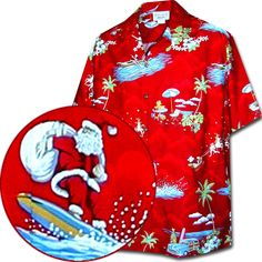 TORI RICHARD 100% SILK EMBROIDERED SANTA CHRISTMAS HAWAIIAN BAHAMA ...