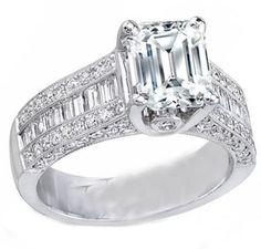 Engagement Ring - Emerald Cut Engagement Ring Three Row Baguette & Round Diamonds Heirloom Setting 1.34 tcw. - ES286EC