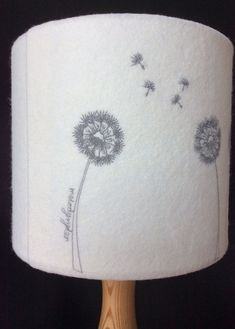 Embroidered dandelion clock lampshade by MelodyRyder on Etsy