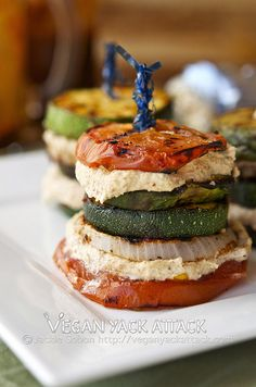 May have to throw a dinner party as an excuse to make these gorgeous Grilled Summer Stacks with Smoky Almond Cream.
