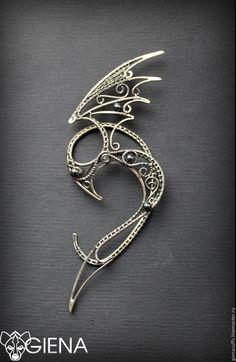 Cuff Jewelry, Beaded Jewelry, Jewelery, Handmade Jewelry, Elf Ear Cuff, Ear Cuffs, Wire Jewelry Patterns, Elf Ears, Dragon Jewelry
