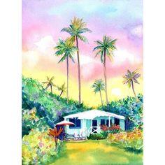 Kauai Aqua Cottage Original Watercolor Painting from Hawaii Hawaiian... ❤ liked on Polyvore featuring home, home decor, wall art, aqua home decor, sunset wall art, garden wall art, aqua home accessories and sunset painting