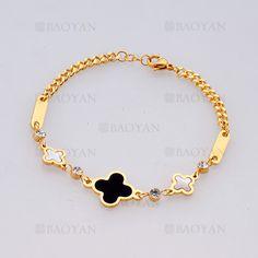 pulsera con trebol de dorado en acero inoxidable para mujer-SSBTG805180
