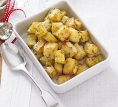 Cut spuds into uniform little cubes then sprinkle liberally with rosemary, thyme and sage salt - they'll crisp up a treat
