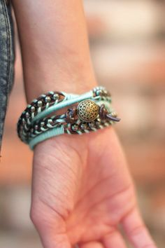 turquoise wrap bracelet embroidered wrap by laceandthreads on Etsy