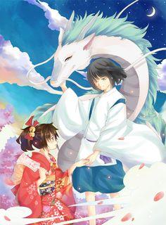 "Haku and Chihiro from Miyazaki's ""Spirited Away"" - Art by CYHGM on Pixiv, found via Zerochan"