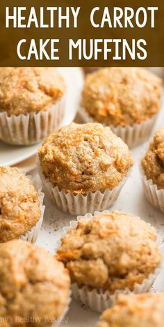 An easy, no-mixer-required recipe for guilt-free mini muffins that taste just like carrot cake! Sweet, tender, full of cozy spices & only 33 calories! Healthy Carrot Cakes, Healthy Muffin Recipes, Healthy Muffins, Healthy Dessert Recipes, Healthy Baking, Thm Recipes, Healthy Savoury Snacks, Low Calorie Muffins, Gluten Free Carrot Muffins