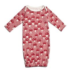 Winter Water Factory Organic Cotton Baby Gown - Mushrooms $32