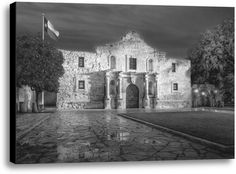 The Alamo by Rod Chase Photographic Print on Wrapped Canvas in Black and White