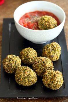 Vegan Broccoli Balls. Broccoli Cheese Balls, veggie / meat balls. Serve with marinara, or over spaghetti or in a sub.  VeganRicha.com #vegan #recipe