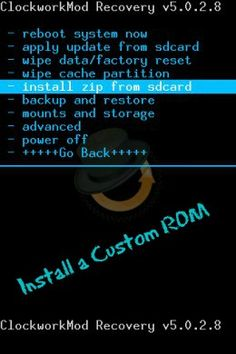 A screenshot of the CWM ClockWorkMod Recovery. It is used to help to install a custom rom.
