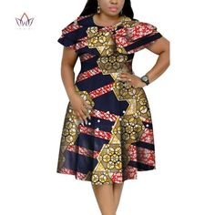 Image of New Bazin Riche African Ruffles Collar Dresses for Women Dashiki Print Pearls Dresses Vestidos Women African Clothing African Dresses Plus Size, Short African Dresses, Latest African Fashion Dresses, African Print Dresses, African Print Fashion, African Fashion Traditional, African Attire, Fashion Looks, Ideias Fashion