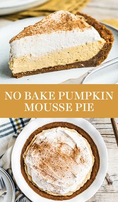 No Bake Pumpkin Mousse Pie features a thick Biscoff cookie crust filled with homemade pumpkin spice mousse and topped with fresh whipped cream. It's the ultimate easy pumpkin pie for Thanksgiving! This from-scratch recipe is the BEST crowd-pleaser. #pumpkinpie #moussepie #thanksgivingdesserts #falldessert #pumpkinspice