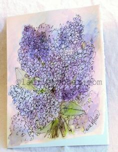 Lilacs is a botanical nature art original watercolor card and is blank  inside ready for your notes or message. There are lilacs in shades of  loft blues and purples with ink detailing the petals. The title is  Lilacs.  Artwork Title: Lilacs Card size: 5 x 7 inches Medium: Windsor and Newton Artist Quality Watercolors on 140lb Strathmore cream card with deckled edges on card and envelope. . Blank inside, each original art card comes with an envelope.  You will love my individually ...