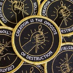 When everything else is falling apart, let's combat it and create something. Patch by Tender Ghost. 3 inches. Iron-on backing, metallic gold thread.