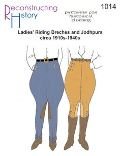 - Ladies Riding Breeches or Jodhpurs Pattern . Sewing Pattern- Ladies Riding Breeches or Jodhpurs Pattern. Fits waists 24 through hips 36 through and calves 13 to All sizes included in envelope. You need this pattern for ladies riding Jodhpur, Riding Breeches, Riding Pants, Edwardian Fashion, 1940s Fashion, Edwardian Era, Vintage Fashion, Dress Sewing Patterns, Vintage Sewing Patterns