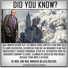 World Trade Center leaseholder Larry Silverstein bought terrorism insurance two months before then collected double… Things To Know, Did You Know, Weird Facts, Fun Facts, 911 Conspiracy, Illuminati Conspiracy, Conspiracy Theories Government, Larry, Ancient Aliens