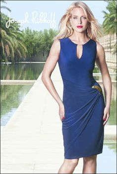Joseph Ribkoff | Dress | Navy | Gold Trim at Neck | Gold Buckle. #fashion #2014springsummercollection #josephribkoff