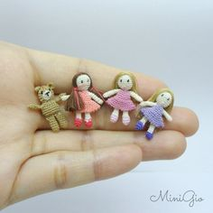Micro amigurumi girl doll dollhouse doll miniature by MiniGio