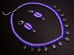 Glass Jewellery Sets – Purple autumn leaves set – a unique product by DarkEyedJewels on DaWanda Glass Jewelry, Jewelry Sets, Handmade Jewellery, Autumn Leaves, Beadwork, Purple, Unique, Bracelets, Pattern