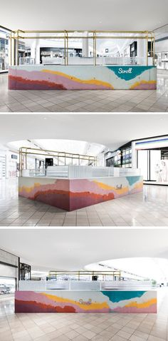 Layers of colorful concrete were poured onsite into a formwork mold to create a bar for Scroll Ice Creams flagship store in Australia. Kiosk Design, Cafe Design, Retail Design, Store Design, Commercial Interior Design, Commercial Interiors, Shop Interiors, Office Interiors, Restaurant Design