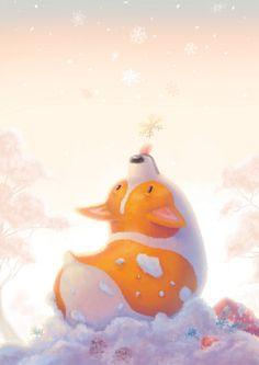 Corgi and Snowflakes Art Print