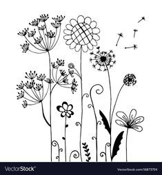 Immagini, foto stock e grafica vettoriale simili a tema Abstract flowers and butterfly in black and white - 1319070608 Watercolor Flower, Abstract Flowers, Embroidery Stitches, Embroidery Patterns, Posca Art, Illustration Blume, Doodle Lettering, Doodle Designs, Flower Doodles