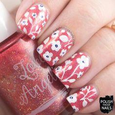 nail art, flowers, floral, pattern, 06/16, orange, holo, love angeline, indie polish, polish those nails, nails