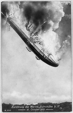 Burning German airship L.II falling from sky, Oct. 17, 1913.Bain Collection, Library of Congress Prints and Photographs Division Washington, D.C.