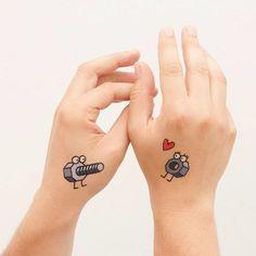 Partner Tattoos, Relationship Tattoos, Bff Tattoos, Fake Tattoos, Disney Tattoos, Sexy Tattoos, Unique Tattoos, Small Tattoos, Unique Couples Tattoos