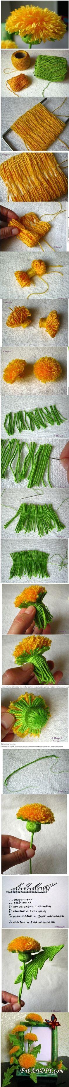 DIY Crochet Yarn Dandelion Bouquet
