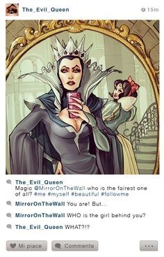 Selfie Fables | What if disney characters have Instagram | Grimilde and Snow White by Simona Bonafini