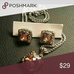 Topaz necklace & earrings, .925 SS/Jew brass nwot ~~NWOT Beautiful yellow topaz necklace & earrings with nice design & stones.   ~~This is .925 sterling silver overlay w quality jewelry brass. overlay is far better than plated imo   Please ask if questions.   Thank you. Jewelry Necklaces