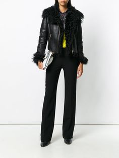 Versace Collection shearling biker jacket