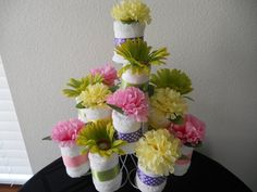 Items similar to NEW Adult Washcloth Cupcake Table Centerpiece or Shower Favor Bridal Baby Set of 4 You Pick the Colors on Etsy Beach Wedding Favors, Bridal Shower Favors, Party Favors, Bridal Showers, Wedding Cake, Wedding Ideas, Cupcake Centerpieces, Cupcake Table, Diaper Centerpiece