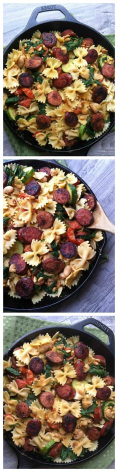 Smoked Sausage, White Bean and Spinach Pasta with Toasted Pine Nuts is the perfect weeknight meal ready in 15 minutes // A Cedar Spoon