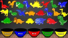 Dinosaur Colors Song, Color Sorting For Kids Educational Video Kindergarten