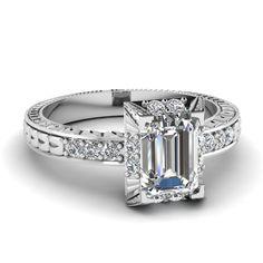 Elegant Emerald Ring || Emerald Cut Diamond Engagement Rings With White Diamonds In 14k White Gold