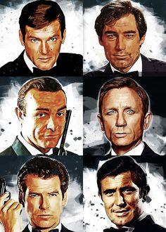'James Bond 007 Portraits' Poster Print by Fasata Design | Displate James Bond Actors, James Bond Movies, Rachel Weisz, Pulp Fiction, Film Icon, Cult, Pierce Brosnan, Neil Armstrong, Roger Moore
