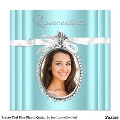 Pretty Teal Blue Photo Quinceanera 5.25x5.25 Square Paper Invitation Card