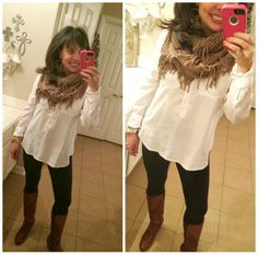 white shirt, black leggings, cognac wedge boots, and a fringey infinity scarf!  simple and cute!