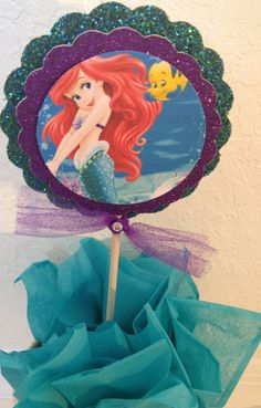 Little Mermaid Centerpiece, Little Mermaid cake topper, centerpiece stick
