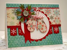Mitten Christmas Card in Teal & red