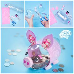 DIY Piggy bank with plastic bottles Kids Crafts, Diy And Crafts, Craft Projects, Arts And Crafts, Paper Crafts, Recycled Crafts Kids, Plastic Bottle Crafts, Plastic Bottles, Soda Bottle Crafts